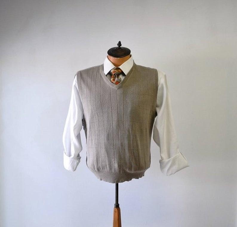 1970s Mens Shirt Styles – Vintage 70s Shirts for Guys Vintage Vest 1970S Alan Flusser Knitted Taupe Pullover Fashion Knit Vest - Size Medium Mens $23.00 AT vintagedancer.com