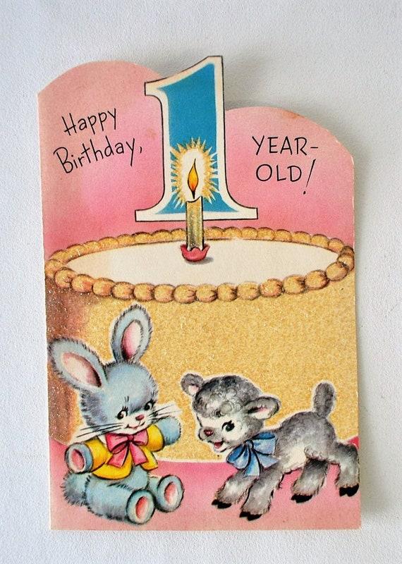 Vintage Happy Birthday Cardbirthday Card For 1 Year Old Etsy