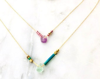 Dainty Pink and Gold or Green and Gold Necklace