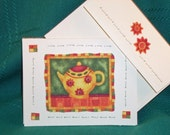 NOTE CARDS Tea Pots Fabric Applique Set of 3 Note Cards Handmade Debbie Mumm Design Cards and Envelopes 3 Different Designs 4 by 5 Card