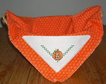 Bread Cloth with Pumpkin in Counted Cross Stitch