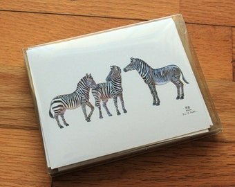 Zebra and giraffe cards with envelopes (pack of 8)