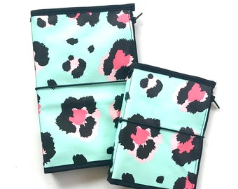 Ready to Ship Travelers Notebook Cover and Matching Craft Folder Bundle Leopard Print Design