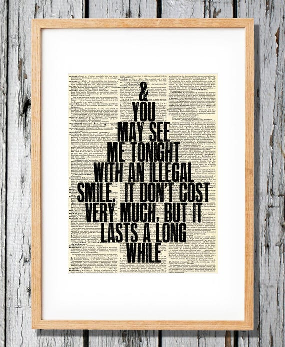 John Prine Quote dictionary page art print poster literary gift quotes