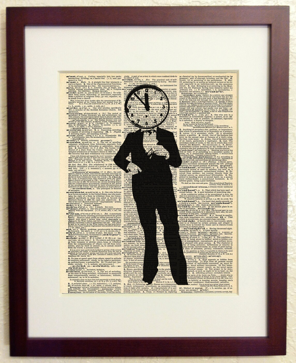 Father Time Art Print On Vintage Antique Dictionary Paper Etsy