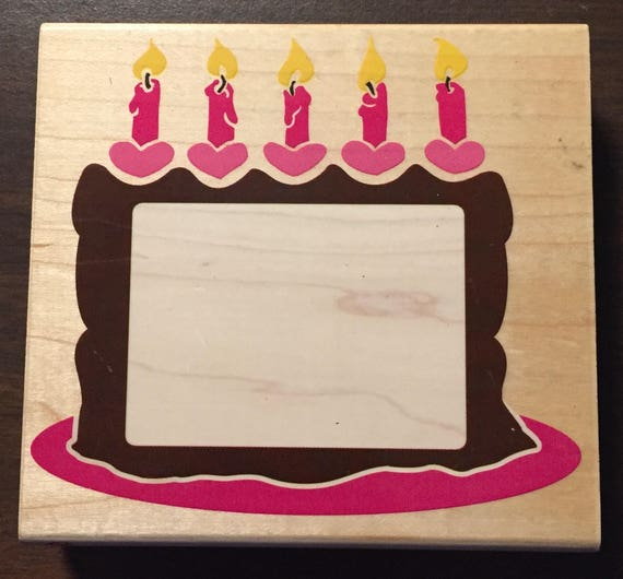 Posh Impressions Birthday Cake Frame Large Rubber Stamp by | Etsy