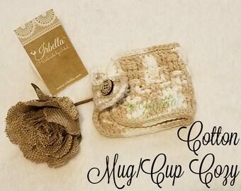 Cotton Basket Weave Mug/ Cup Cozy - Ready to Ship!