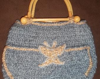 Artisan Handmade Vegan Crochet Jean Blue Homespun Butterfly Handbag with Bamboo Handles - Ready to Ship!