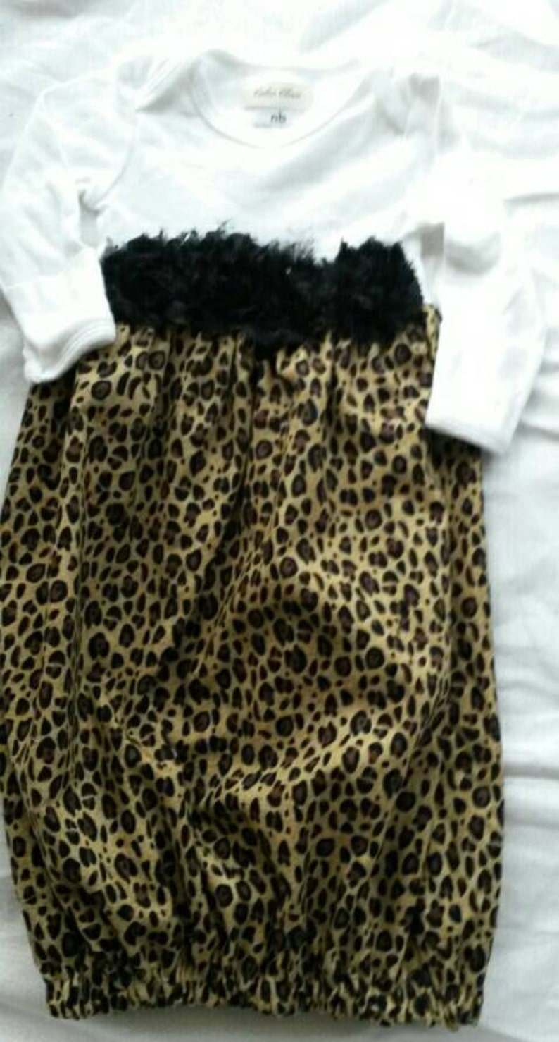 Baby girl set layette gown Take Home Leopard headband Shower gift 2pc set Custom USA made NB to 18months Infant gown new born girls sassy