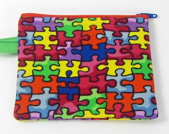 Puzzle,autism awareness, credit card case, change purse, business card holder, coin wallet, womens change purse, credit card wallet