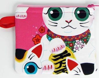 Cat, credit card case, business card holder, cute coin purse, change purse, womens change purse, credit card wallet, kids mini wallet