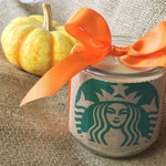 Unique Starbucks Gifts Recycled Candle Jar, Starbucks Candle Pumpkin Spice Latte PSL Candle in Upcycled Jar, Eco Friendly Recycled Candles