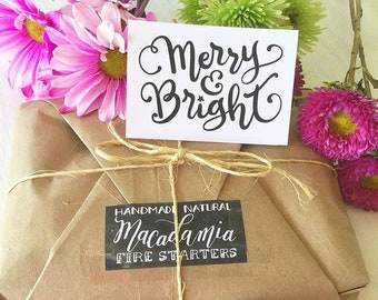 FREE SHIPPING Mindful Christmas Party Host Gift, Cozy Eco Friendly Hostess Gifts, Handmade Natural Fire Starters with Merry & Bright Card