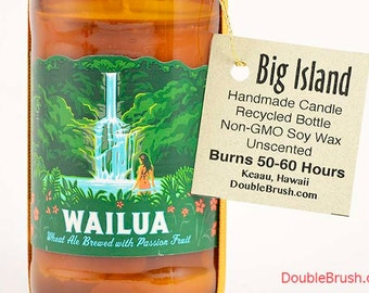 Wailua Beer Bottle Soy Candle Handmade in Hawaii Recycled bottle Waterfall design Maui Hawaii Gift Hawaiian Vacation Honeymoon Anniversary