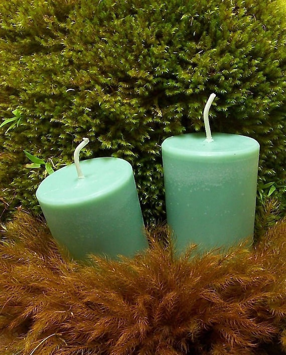 Sandalwood Candles 4 - 12 Large or Standard Size Candle Votives Sandalwood  Scented Woodsy Forest Mint Green Candles Woodland Eco Friendly