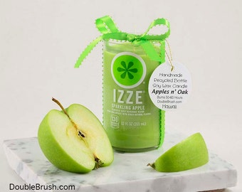 Christmas Green Apple Candle, Izze Soda Scented Candle Gift, Apple Lover Gift Christmas Gift for her, Upcycle Candle, Repurposed Sustainable