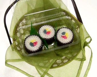 Pretty Sushi Candle Gift Candles Sushi Gift Set 3 Piece Japanese Fake Food Faux Edibles Japanese Cuisine Pure Beeswax Candles Hand Rolled