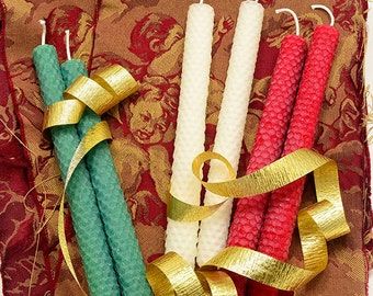 Farmhouse Country Rustic Home Decor, 6 Christmas Candles Set, Hand Rolled Pure Beeswax Natural Candle for Holiday Table or Fireplace Mantel