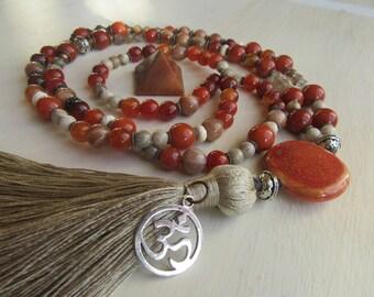 Mala Necklace Gemstone 108 Beads Manifest Your Passion 2nd Sacral Chakra Orange Jasper Agate Carnelian Coral Quartz
