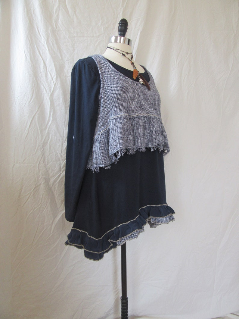 Lagenlook Tunic Ruffled Two Piece One Size Midnight Blue Cotton Knit with Checkered Frayed Topper One Size Fits S L