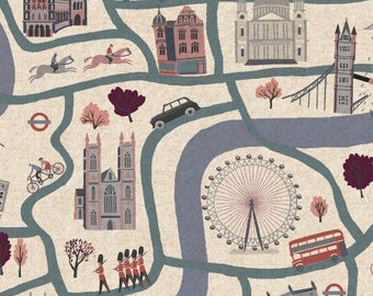London Town - London Forever - Cloudy Day CANVAS- Cotton + Steel  1/2 yard