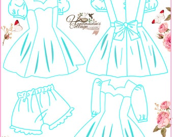 Beatrice Dress and Bloomers PDF Pattern for girls, Sizes 2T, 3T, 4T, 5, 6, 7, 8,  10, 12