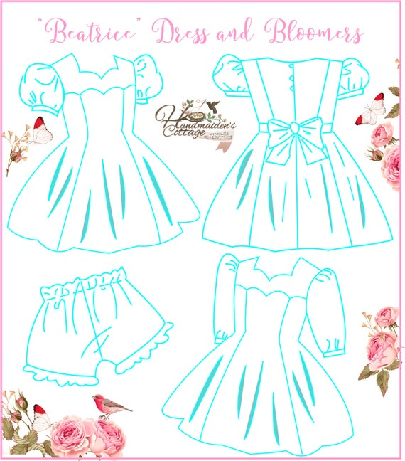 Beatrice Dress und Pumphose PDF Muster für Mädchen Größen 2   Etsy