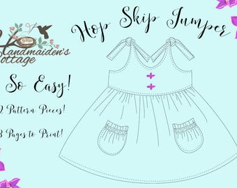 Dolly and Me  Hop Skip Jumper PDF Pattern Girls sizes 6 months through size 8, 18 inch Dolls