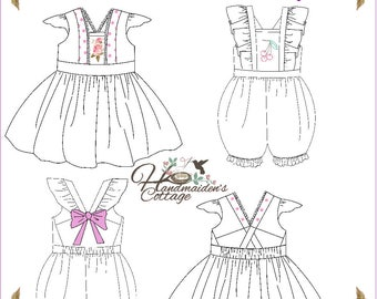 Alice Dress and Romper PDF Pattern for girls, Sizes 2T, 3T, 4T, 5, 6, 7, 8,  10, 12