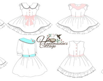 Alivia Dress PDF Pattern for girls, Sizes 6 months through size 12