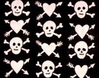 Hearts & Skulls Retro Cotton Fabric REMNANT - Free Shipping