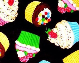 Cupcakes On Black Cotton Fabric REMNANT