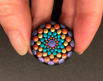 Upcycled bottle cap magnet, Hand Painted Dot Art Mandala