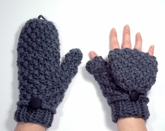 Mittens that Convert to Fingerless Gloves, Gray Glittens