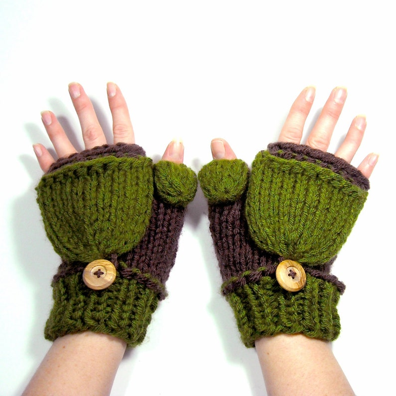 On Sale... Large Knit Mittens that Convert to Fingerless image 0
