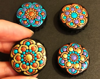 Upcycled bottle cap magnets, Hand Painted Dot Art Mandalas, Metallic Tribal Flowers