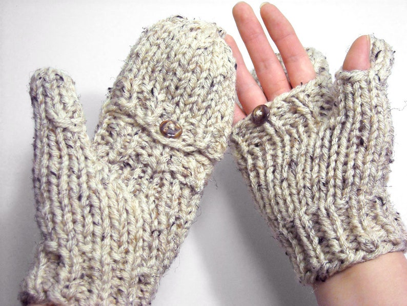 READY TO SHIP in color shown Glittens Convertible Fingerless image 0