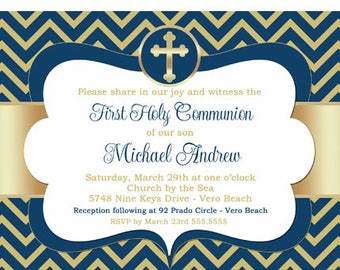 First Communion Invitation Boy, Boy First Communion Invitation, Communion Invitation Navy Blue and Gold, 1st Communion Invite Printable