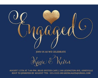 Engagement Party Invitation Navy and Copper, Navy Blue and Copper Engagement Party Invite, Engaged Copper Heart Party Invitation, Printable