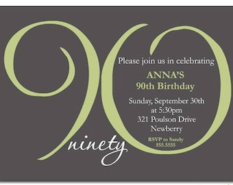 90th Birthday Invitations Printable Invitation For Women ANY AGE Ending In ZERO Sage Green Grey Printed