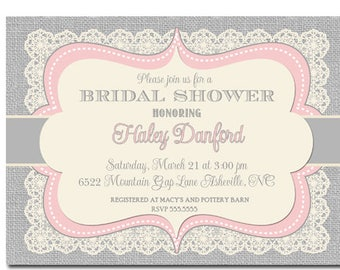 Bridal Shower Invitation Pink Grey, Pink and Gray Bridal Shower Invitation, Burlap Bridal Shower Invite Pink and Grey, Vintage Lace Burlap