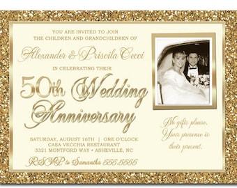 50th wedding anniversary invitations 50th anniversary 50th anniversary invitation gold glitter gold glitter 50th wedding anniversary invitation golden anniversary invitations stopboris Image collections