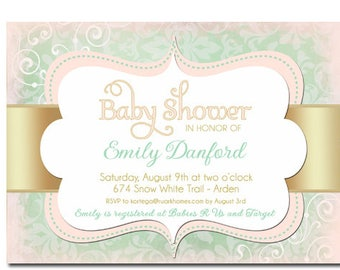 Baby Shower Invitation Girl Pink Mint Gold For Unique Invitations Shabby Chic