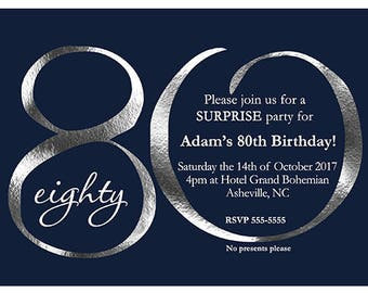 80th Birthday Invitation Printable Navy And Silver Invite ANY AGE Ending In ZERO Only For Men Printed Invitations
