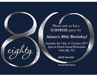 80th Birthday Invitations For Men Invitation Printable Navy Blue And Silver Printed