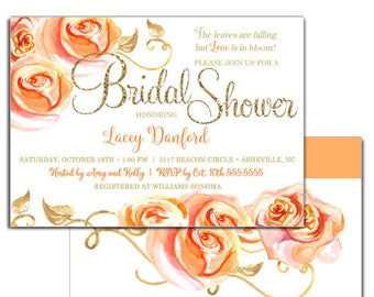Autumn Inspired Bridal Shower Invitations, Autumn Bridal Shower Invitation, Autumn Bridal Shower Invite, Gold Glitter Floral Peach Orange