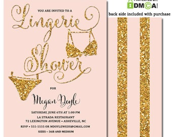 Pink Gold Lingerie Shower Invitation, Lingerie Shower Invitation Pink Gold Glitter, Lingerie Shower Party Invite Pink and Gold Printable