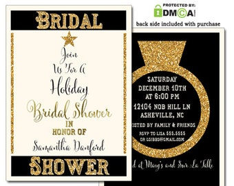 Holiday Bridal Shower Invitation, Christmas Bridal Shower Invitations Printed, Christmas Bridal Shower Invite, Bridal Invite Printable