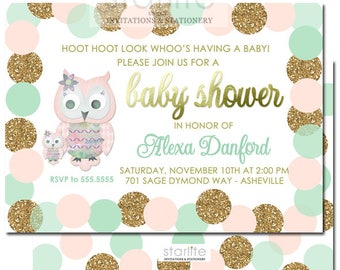Owl Girl Baby Shower Invitation, Pink Mint Gold Owl Girl Baby Shower Invitation, Owl Baby Shower Invitation Girl Pink Mint Gold Glitter