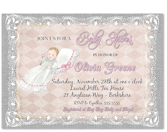 Pink and gray princess baby shower invitations etsy princess baby shower invitation baby shower invitation girl princess princess baby shower invite pink grey burlap and lace vintage invite filmwisefo